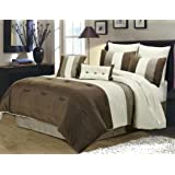Chezmoi Collection 8 Pieces Luxury Striped Comforter Set (Queen, Brown/Off-white/Taupe)