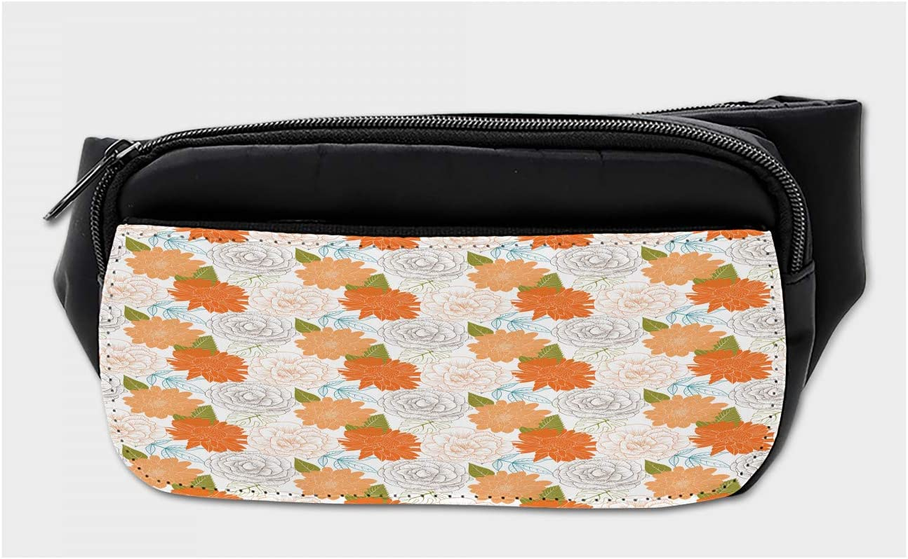 Travel Waist Pack,travel Pocket With Adjustable Belt Retro Style Botanical Flowers Animal Running Lumbar Pack For Travel Outdoor Sports Walking