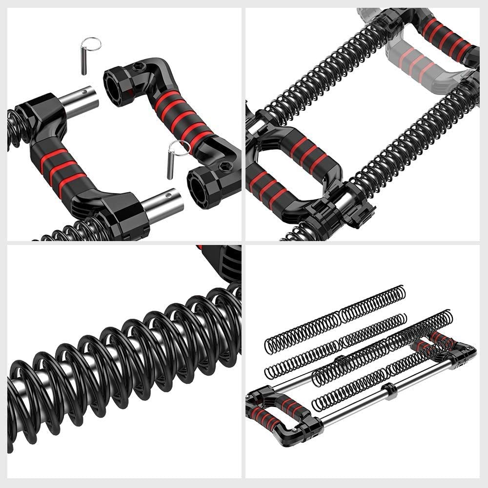 Chest Expander Workout Equipment EAST MOUNT Push Down Bar Machine Black 2817 at Home Personal Gym Fitness Upper Body Arm Shoulder Exercise Training Muscle and Strength Builder.