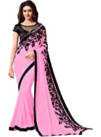 Krishna Emporia Women's Georgette Embroidered Saree with Blouse Piece - KE Sarees 178_Pink_Free Size