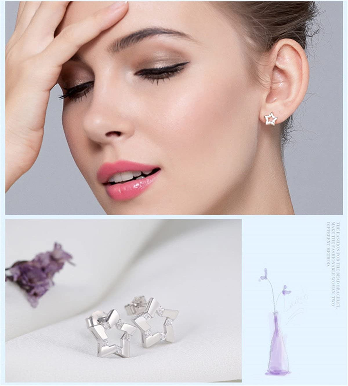 Lambent Earring White Gold Plated Studs,925 Sterling Silver Cubic Zirconia Earrings For Women Girls