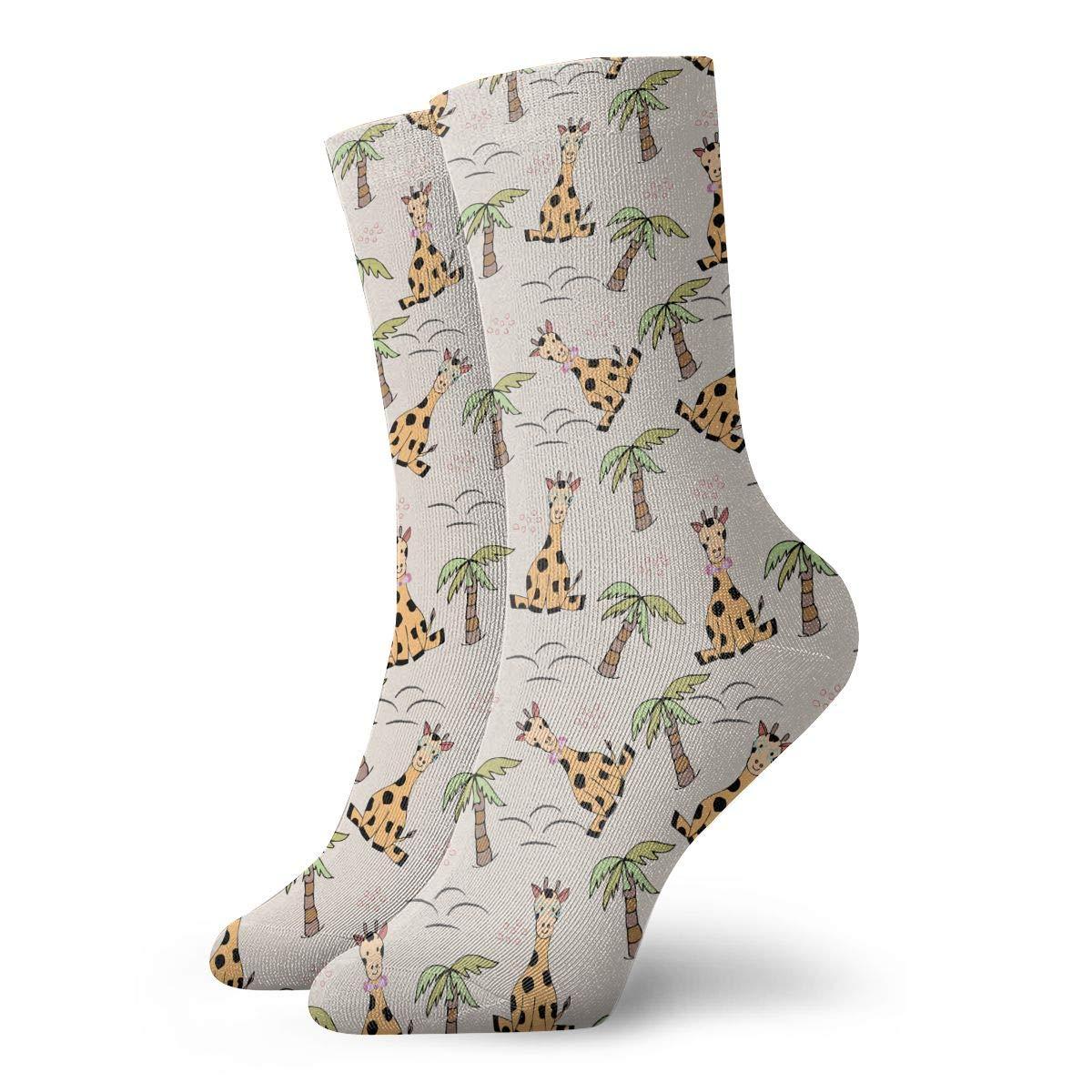Unisex Giraffe And Coconut Tree Athletic Quarter Ankle Print Breathable Hiking Running Socks