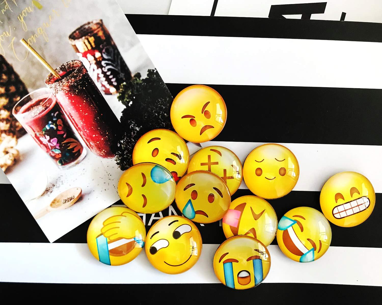 Piccole e graziose Decorazioni Divertenti Divertenti in Vetro 3D Shengchu Calamite da Ufficio Calamite con Emoji Emoji Style-2 Set di 12 Calamite da frigo da Cucina
