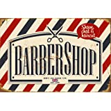Retro Barber Shop Metal Sign Wall Plaque Gift 15X20CM Red & Blue