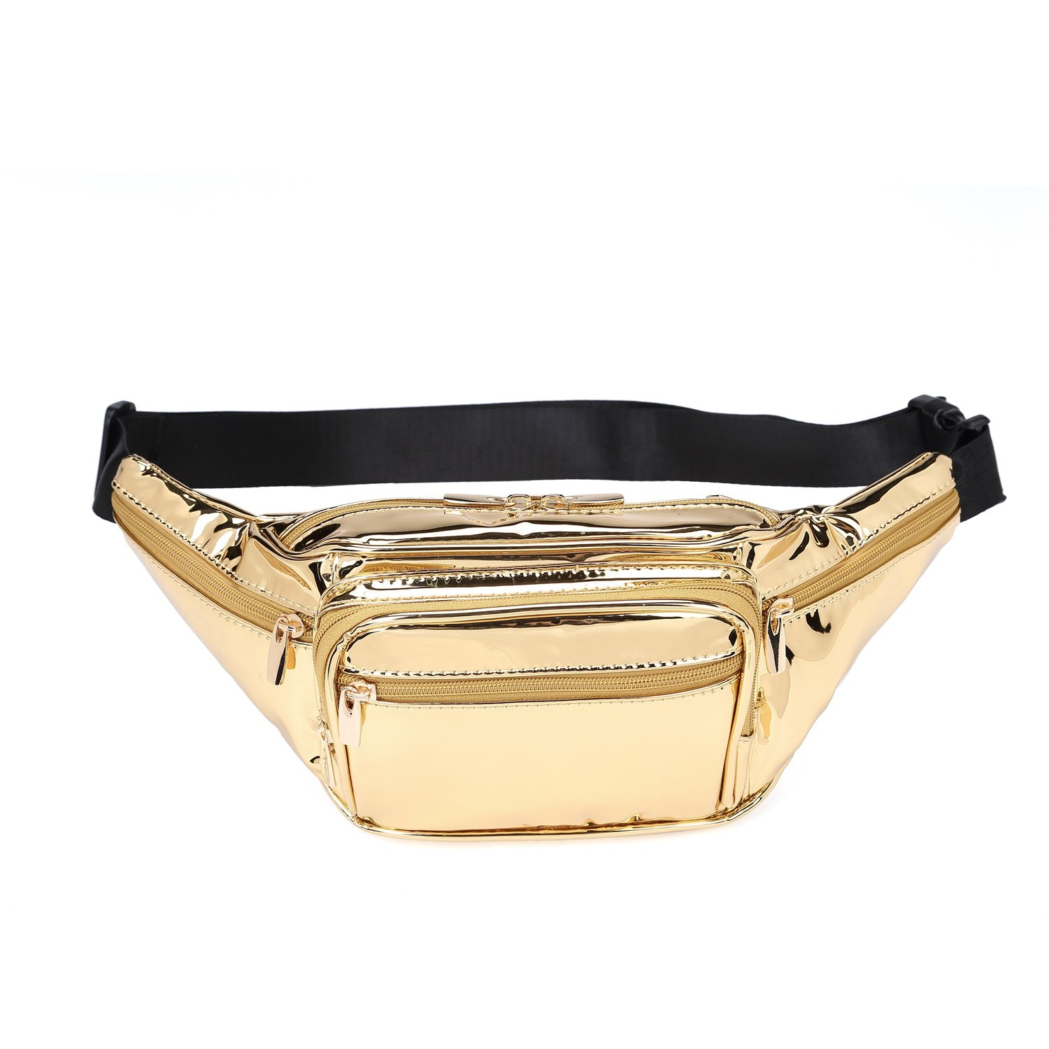 Hearty Trendy Fashion Signature Series Faux Leather 6 Pockets Fanny Pack Waist Pack (Black Floral) WP001-BF