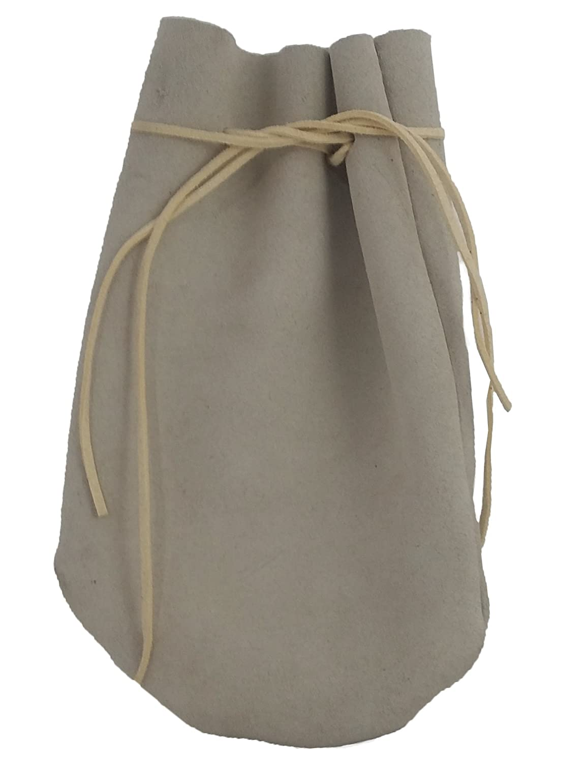 Pouch Drawstring Suede Leather 5 X 7.5 Inches, Natural