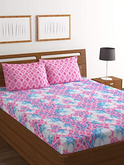 Bombay Dyeing Axia 104 TC Cotton Double Bedsheet and 2 Pillow Covers - Pink