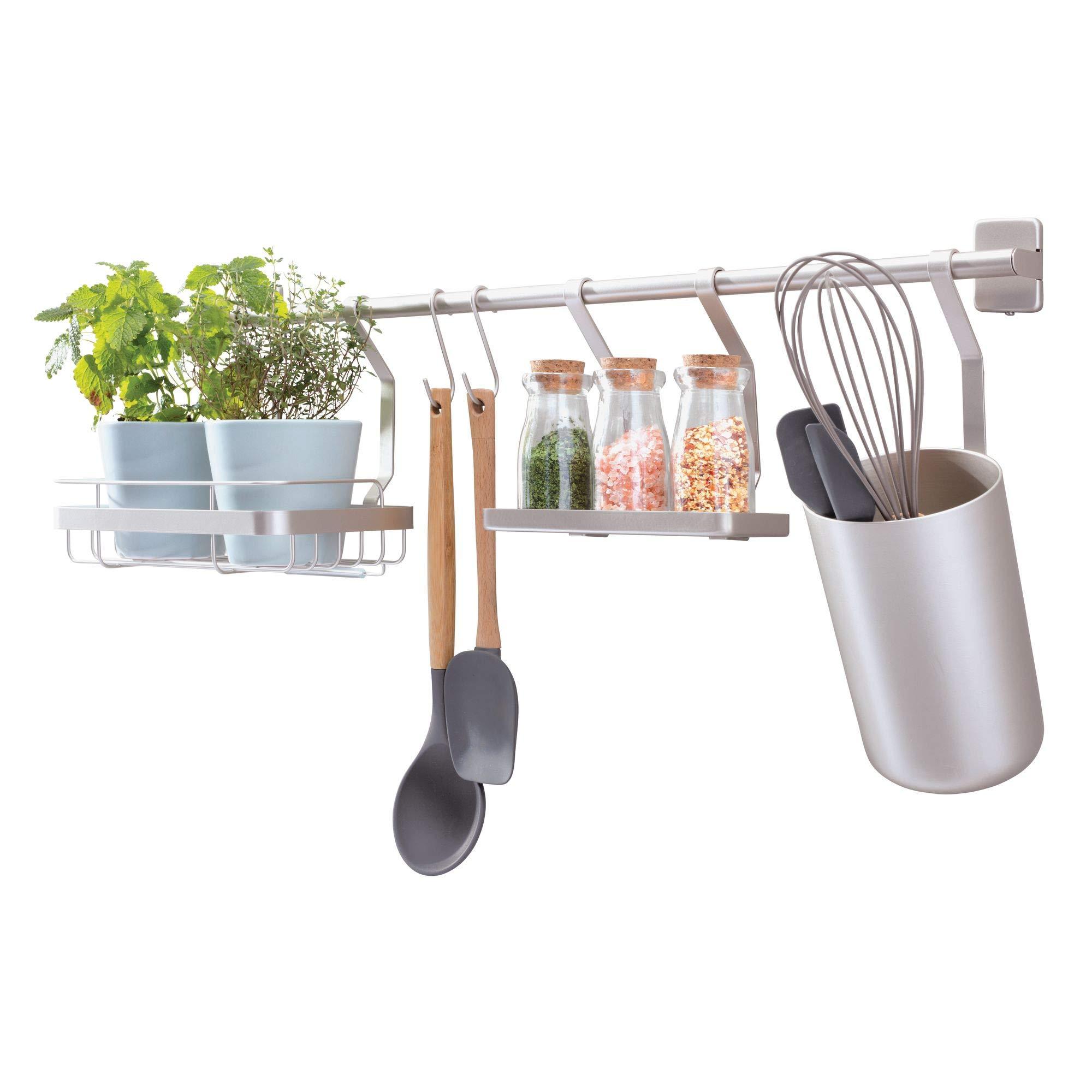 iDesign Austin Metal Wall Mount Kitchen Organizer for Spices, Utensils, Sponges, Soap, Matte Satin by iDesign