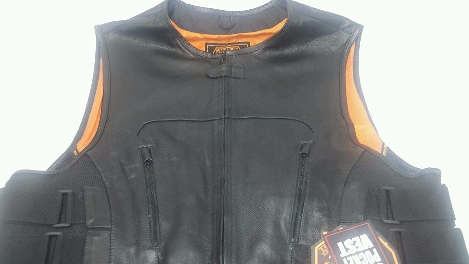 8XL Regular Milwaukee MENS MOTORCYCLE SWAT STYLE VEST UPDATED TACTICAL LEATHER VEST BUTTER SOFT NEW