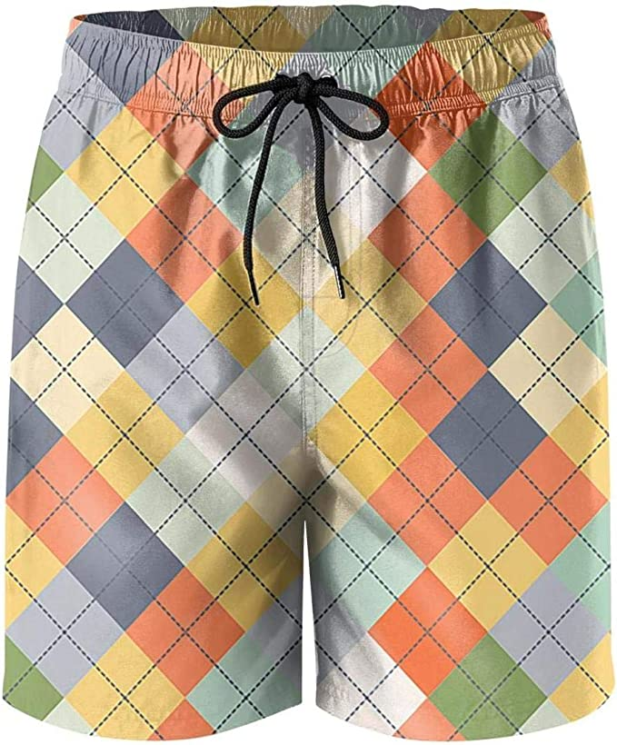 Military Mens Boardshorts Plus Size Cool DSFASDXFX Brown-Green-Checkered