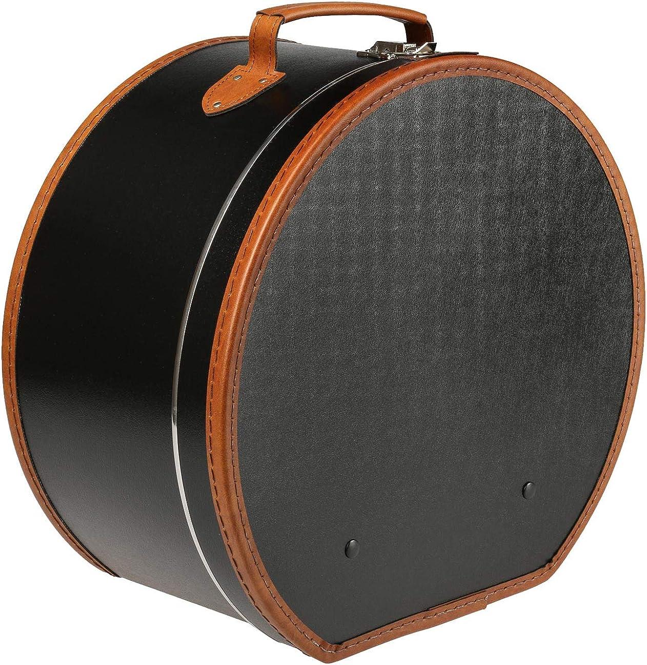 Lierys Sombrerera Redonda Negra 50 cm x 22 cm x 47 cm - Caja para Sombrero Grande de Piel sintética - con asa y Cierre - Caja para Sombrero - También como decoración para el Piso