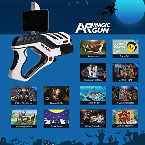 488272fc979f Amazon.com  AR Game Gun Arespark 3D Augmented Virtual Reality Toy Bluetooth  360 Game Controller Console Gamepad for FPS Shooting Games includes AR Game  App ...