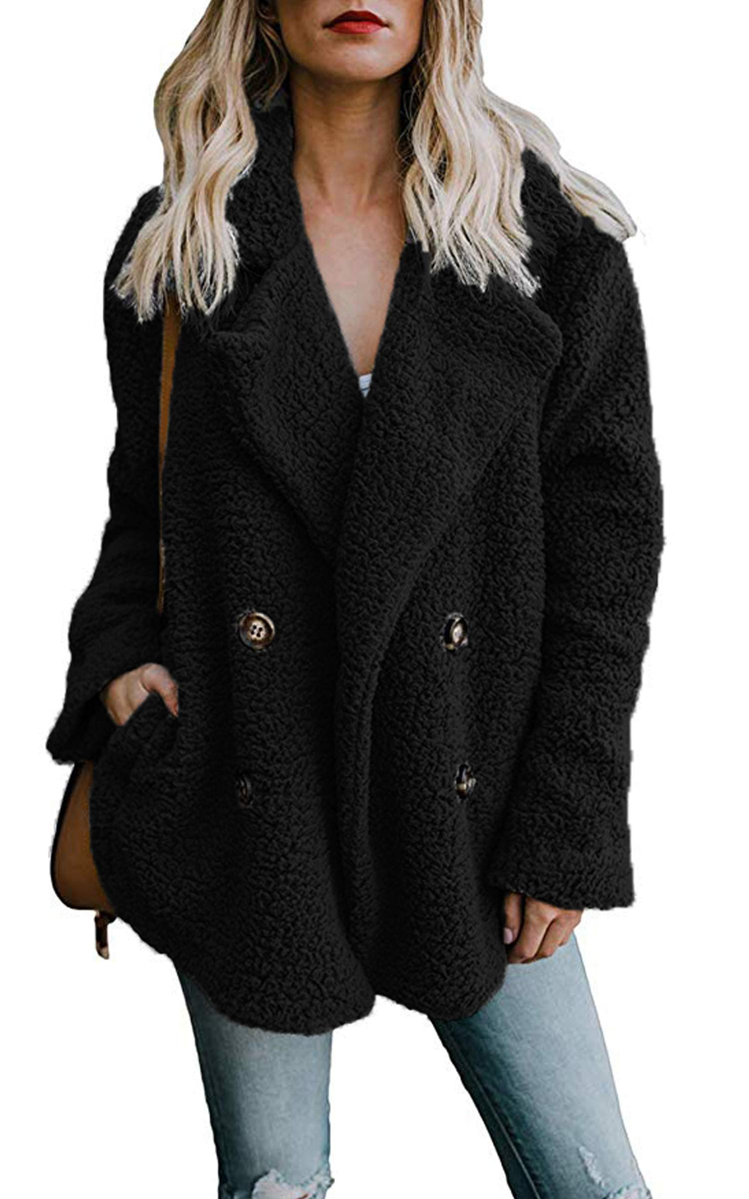ECOWISH Womens Double Breasted Lapel Open Front Fleece Coat with Pockets Outwear Black M