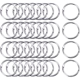 Hautoco 100Pcs Binder Rings 1.4 Inch Nickel Plated Metal Paper Book Loose Leaf Binder Rings Keychain Key Rings for Flash Cards and Document Stack