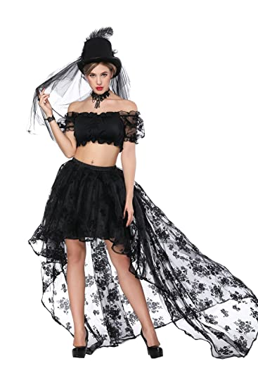 2d53bb621c83 Skirts Women s Floral Lace High Low Layered Elastic Pleated Waist Gothic  Skirt Party