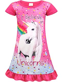 4b943084705a AmzBarley Girls Unicorn Nightgowns Kids Rainbow Nightie Nightdress  Short/Long Sleeve…