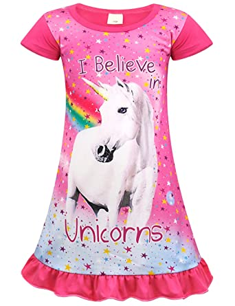 903628402747 AmzBarley Girls Unicorn Nightgowns Kids Rainbow Nightie Nightdress  Short Long Sleeve Unicorns Nighties Dressing Gown Night Dresses Child  Sleeping Outfit  ...