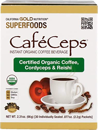 California Gold Nutrition CafeCeps, Organic Instant Coffee with Cordyceps and Reishi Mushroom, 30 Packets.077 oz 2.2 g Each