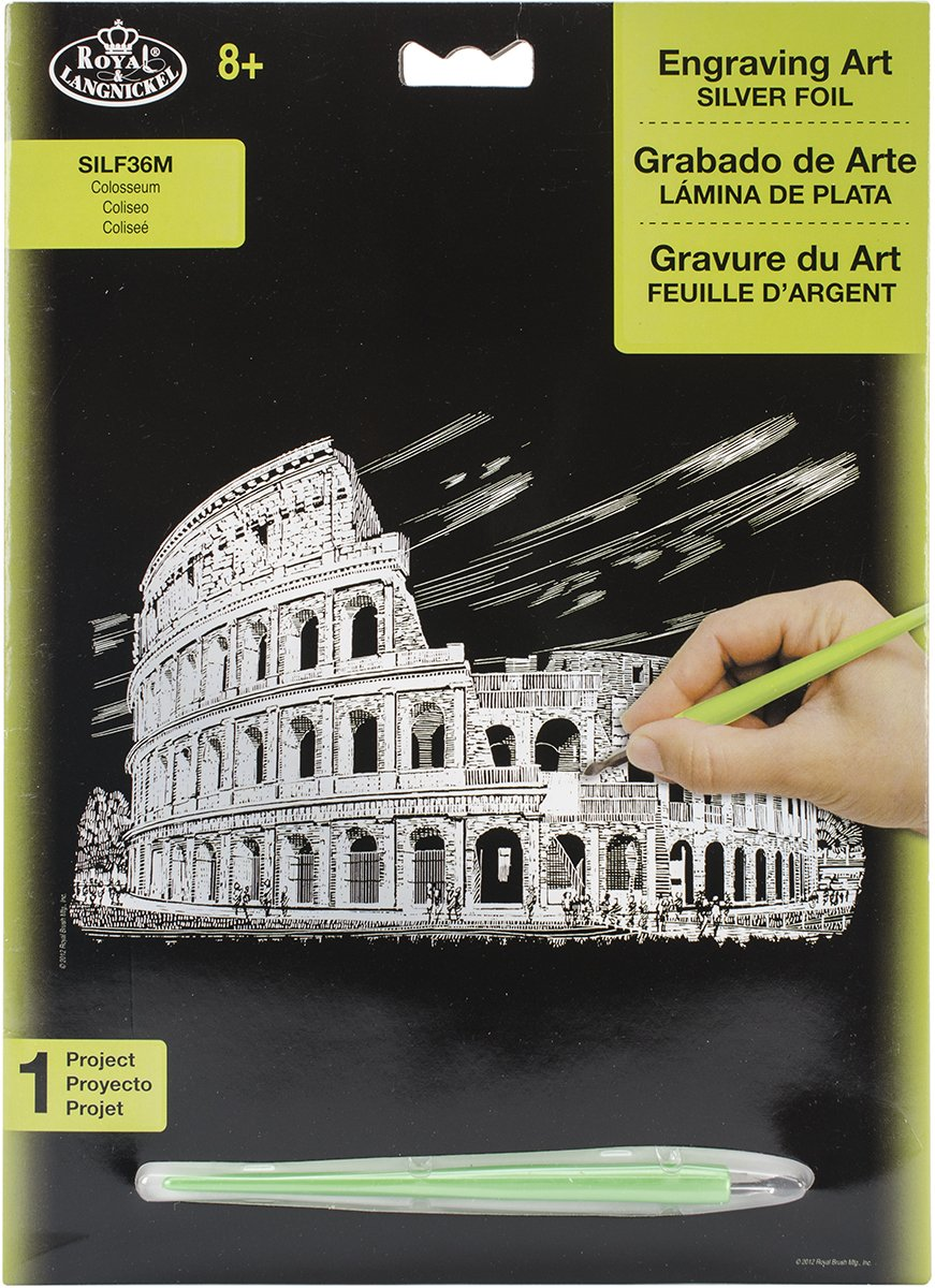 ROYAL BRUSH Silver Foil Engraving Art Kit, 8-Inch by 10-Inch, Colosseum