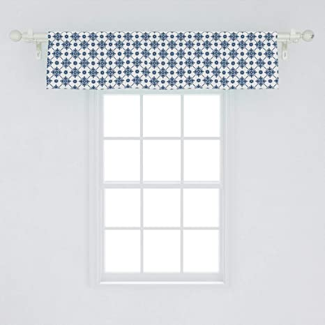 Ambesonne Dutch Window Valance Blooming Floral Pattern With Rhombus Design Historical Dutch Delft Design Curtain Valance For Kitchen Bedroom Decor With Rod Pocket 54 X 12 White Blue Home Kitchen