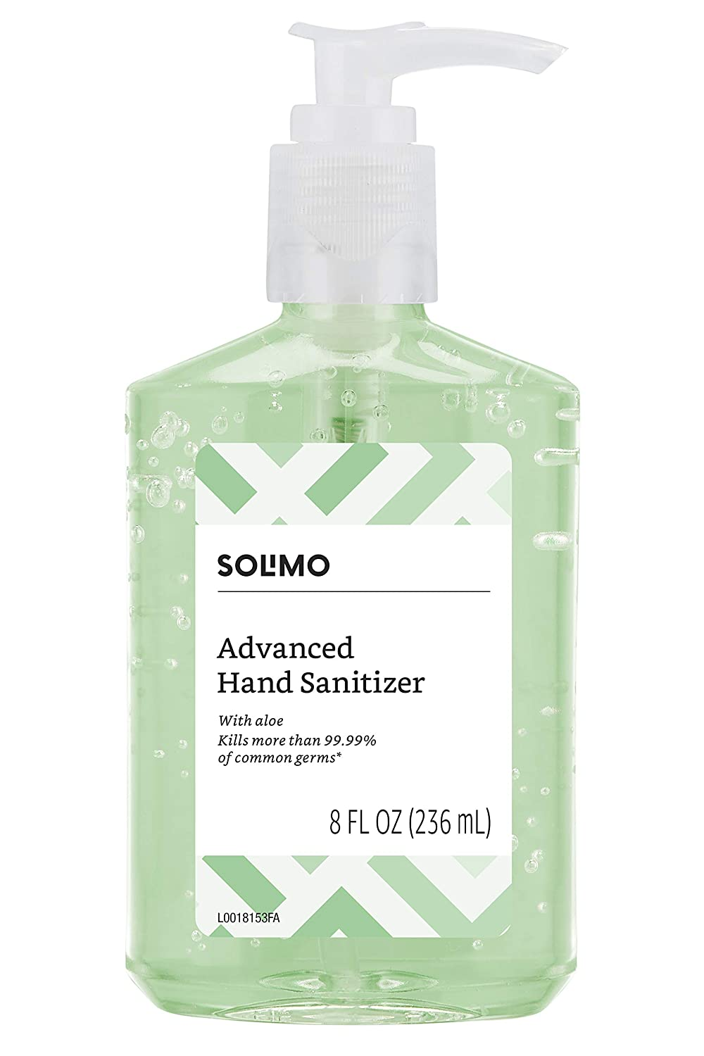Amazon Brand - Solimo Hand Sanitizer with Vitamin E and Aloe, 8 Fluid Ounce