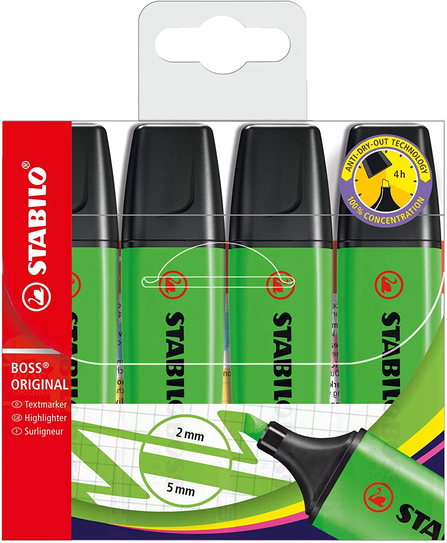 Stabilo Boss - Paquete de 4 subrayadores, verde: Amazon.es: Oficina y papelería