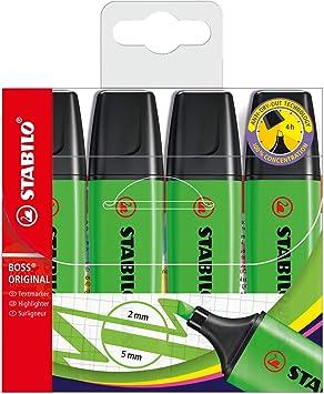 Stabilo Boss - Paquete de 4 subrayadores, verde: Amazon.es ...