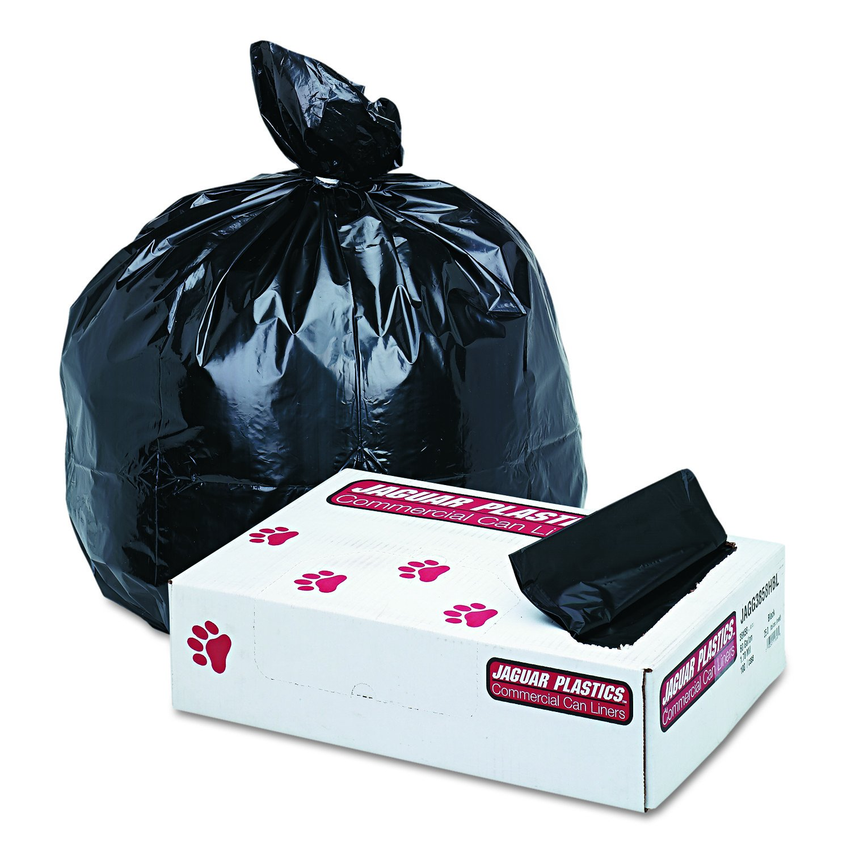 Jaguar Plastics Super Extra-Heavy Can Liners, 60 Gallon, 1.7 Milliliters, 38 x 58, Black, 100/Pack (G3858HBL)