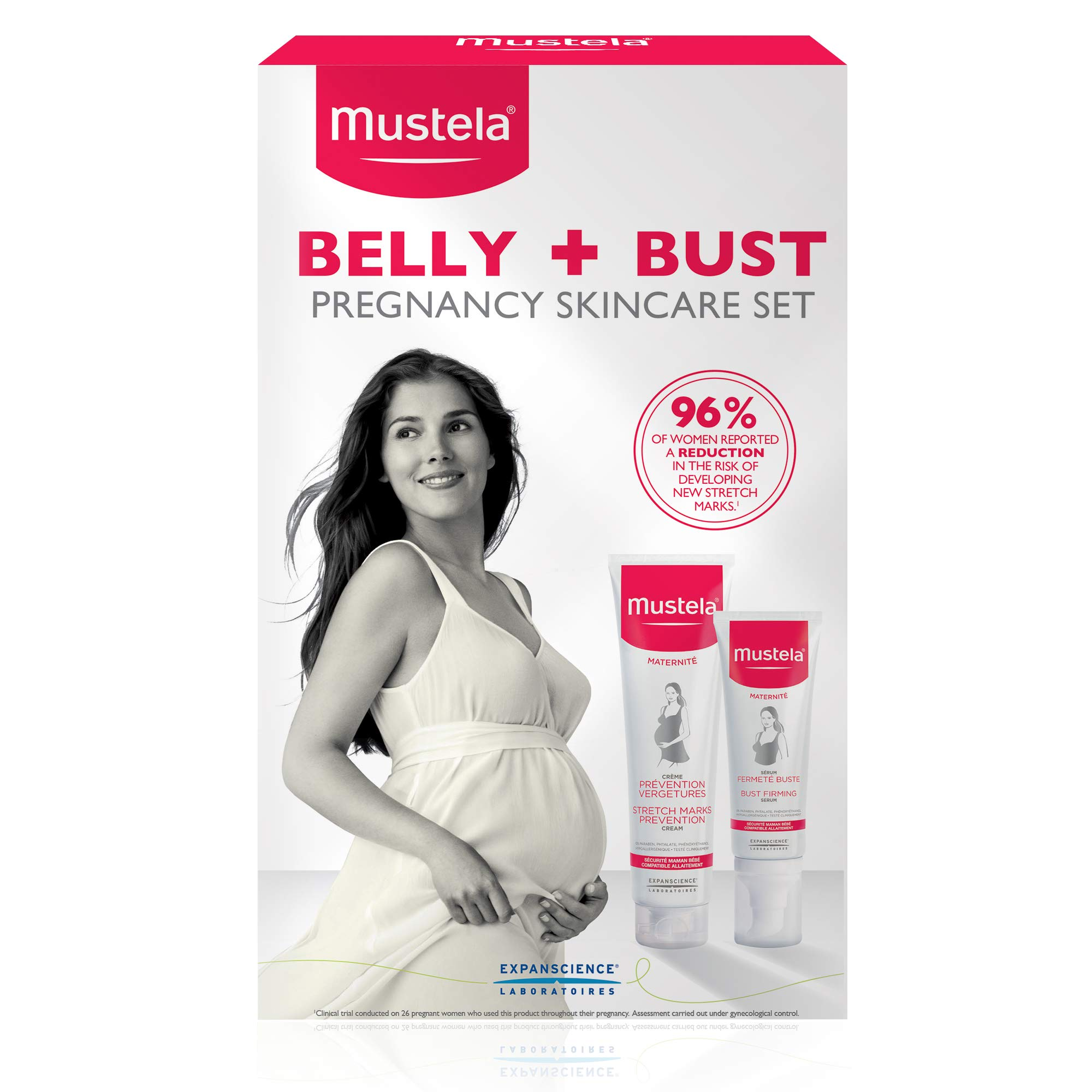 Mustela Belly & Bust Pregnancy Skincare Set, Stretch Marks Prevention Cream and Bust Firming Serum, with Natural Avocado Peptides, 2 Items by Mustela