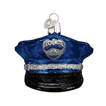 Police Christmas Ornaments.Old World Christmas Ornaments Police Officer S Cap Glass Blown Ornaments For Christmas Tree