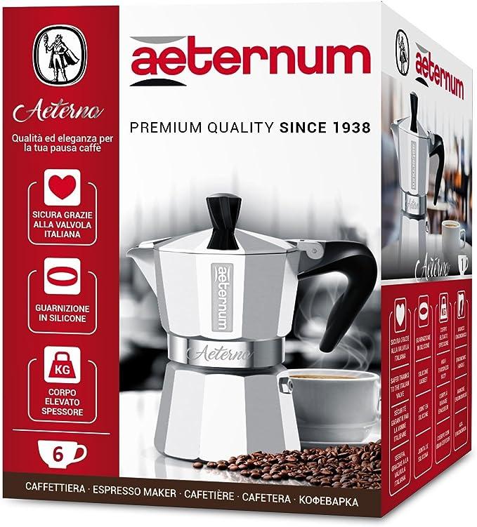 6 Cups Argento Bialetti Morenita Caffettiera 6 Tazze Aeternum Alluminio