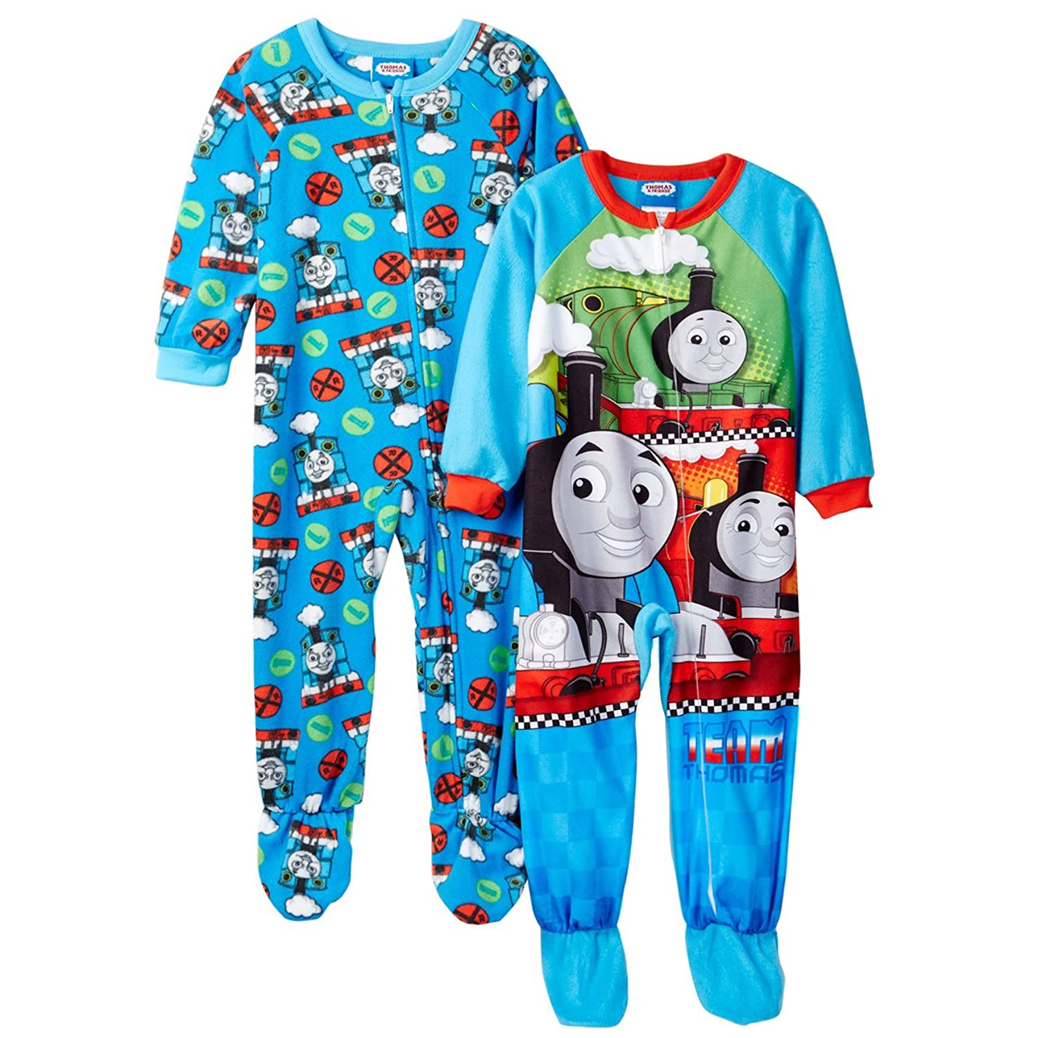 boy s blanket sleepers com thomas and friends boys 2 pack blanket sleeper pajamas toddler little kid