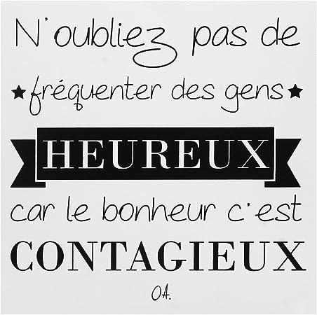 Promobo Tableau Toile Cadre Le Bonheur C Est Contagieux Citation