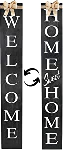 Dollan Outdoor Welcome/Home Sweet Home Sign for Porch, Interchangeable 4feet Tall, Welcome sign, Wooden Welcome Signs for Front Door, Long, Rustic, Wood, Vertical Farmhouse Wall Decor, Decorative Outdoor Signs
