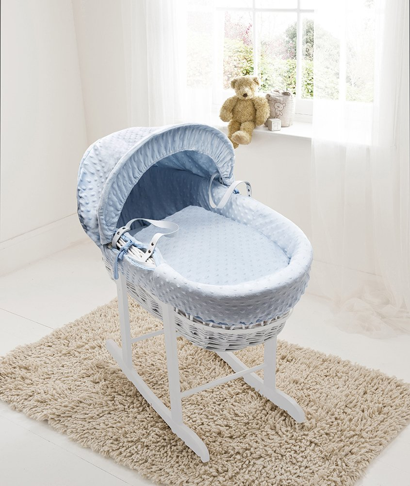 Blue Dimple white Wicker Moses Basket And Deluxe White Rocking Stand Elegant Baby
