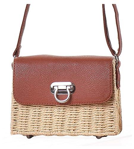 859918b4d30e Hycurey Retro Straw Purse and Handbag Small Box Woven Womens Summer Beach Cross  Body Bag Shoulder