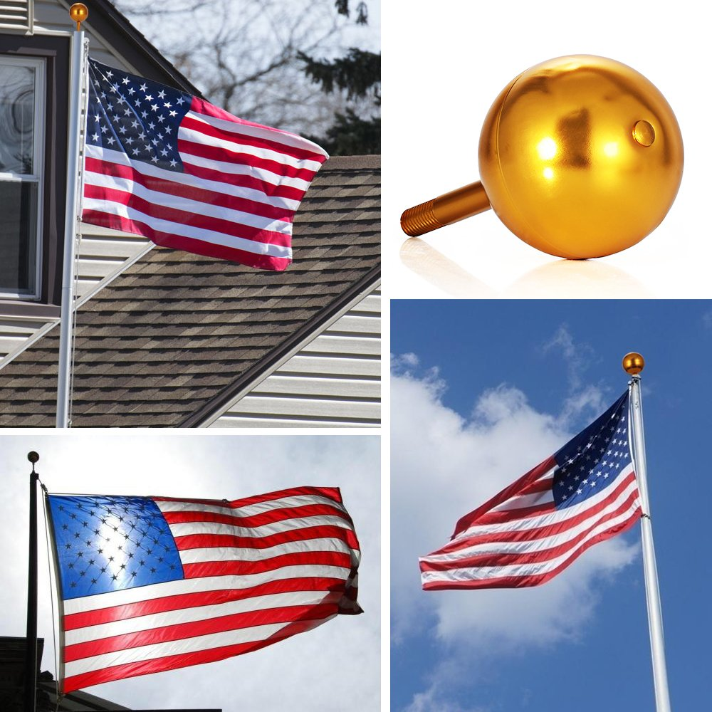 Flagpole Ball Top Ornament Aluminum Anodized Finish, 3-Inch (Gold) by GRDE (Image #2)
