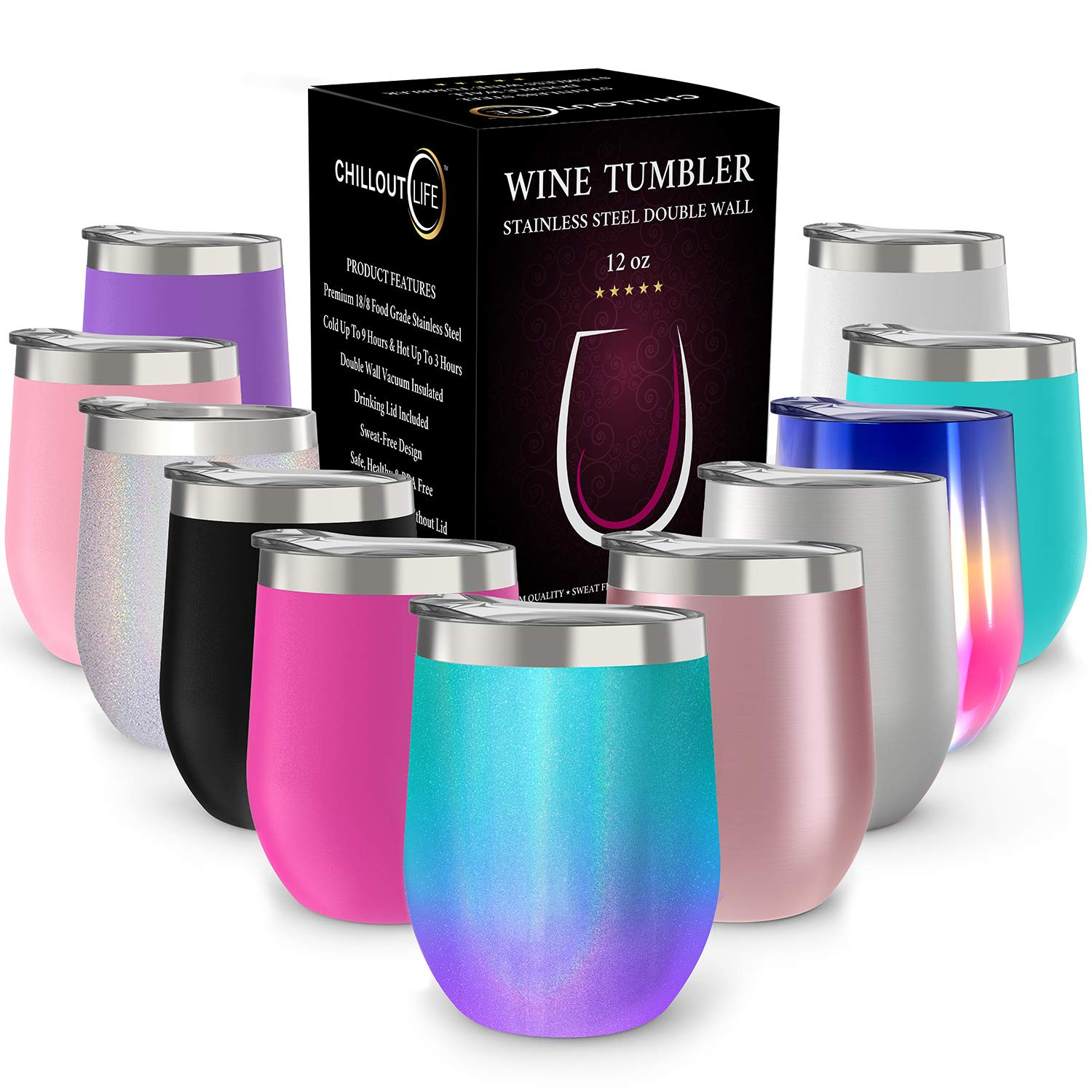 CHILLOUT LIFE 12 oz Stainless Steel Tumbler with Lid & Gift Box | Wine Tumbler Double Wall Vacuum Insulated Travel Tumbler Cup for Coffee, Wine, Cocktails, Ice Cream - Mermaid Sparkle