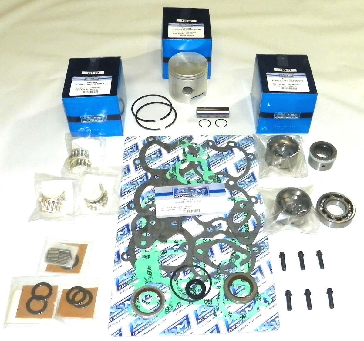 Mercury 50 & 60 Hp 1998-2005, 3 Cylinder Power Head Rebuild Kit PWC 100-06-10 STD Piston OEM# 705-850026A 1, 705-850026T 1 (.040'' (3.032''))