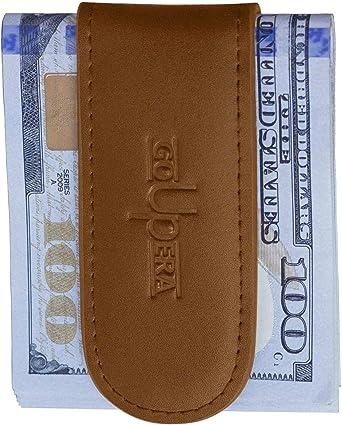 Men/'s Black Genuine Stitched Leather Strong Magnetic Money Clip Cash Holder NEW