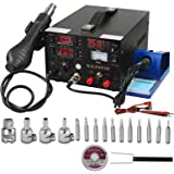 WEP 3in1 Iron Soldering Station ReWork Station 853D SMD Digital Welding Solder Hot Air Gun DC Power Supply