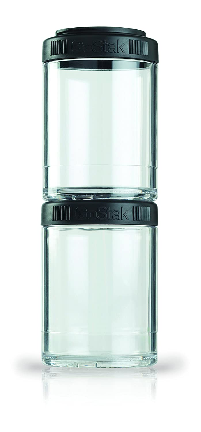 BlenderBottle GoStak Twist n' Lock Storage Jars, 150cc 2-Pak, Black - C00308