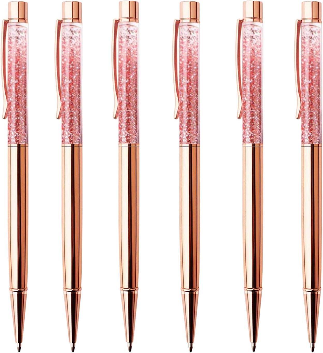Herisa 6 Pcs Rose Gold Ballpoint Pens,Metal Pen Refills Bling Dynamic Liquid Sand Pen Office Supplies and School Desk Accessories,6Extra Refills