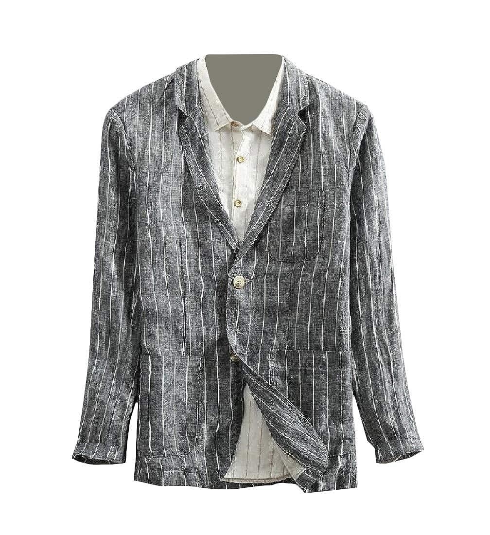 Pandapang Mens Hipster Stripe Coat Linen Two Buttons Blazer Jackets
