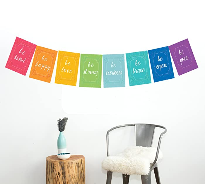 Peace Flags Mini Collection Wall Card Prints, Motivational Wall Quotes, Colorful Decoration, Be Kind, Be Happy, Children Wall Decoration, Wall Flags Decoration