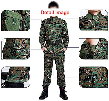 H World Shopping Militar Táctico para Hombres de Caza Combate BDU Uniforme Traje de Traje y Pantalones con Cinturón Woodland Digital AOR2: Amazon.es: Deportes y aire libre