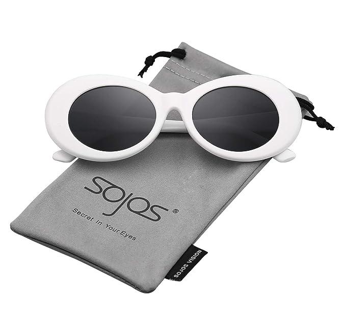 3ca4129ffd SojoS Lentes De Sol Mod Oval Style Marco Grueso Retro Kurt Cobain  Sunglasses SJ2039 Marco Blanco/Lentes Grises: Amazon.es: Ropa y accesorios