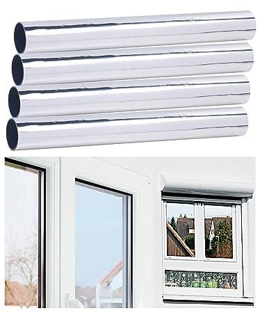 infactory Wärmeschutzfolie: 4er-Set Selbsthaftende Isolier-Spiegelfolie, Sicht-/UV-Schutz, 40 cm (Sonnenschutzfolie Fenster)