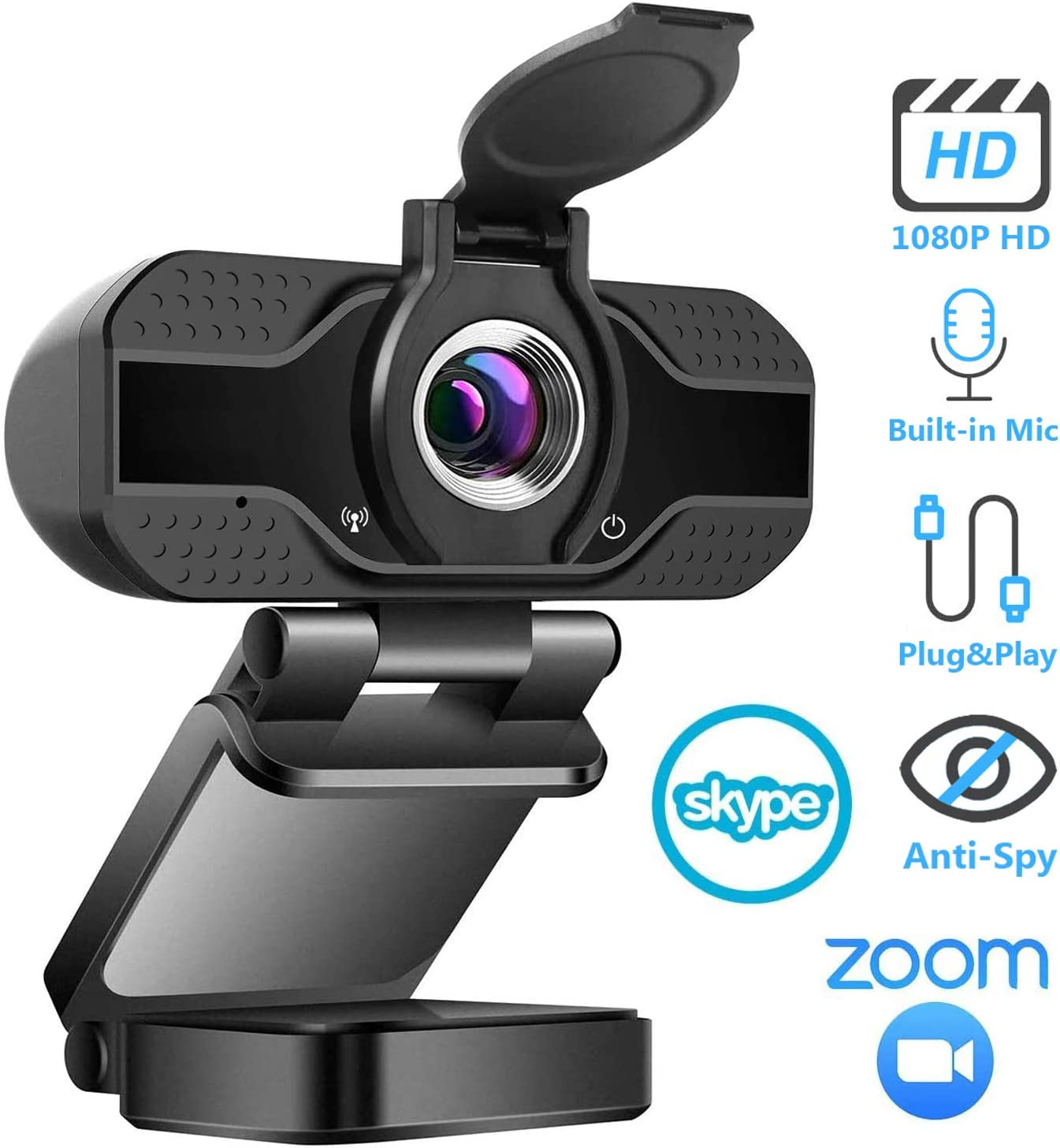 Webcam 1080P with Microphone & Privacy Cover, Full HD USB Camera for PC, Mac, Laptop, Desktop, Plug&Play, USB Web Camera with Auto Light Correction for YouTube Skype Video Calling Studying Conference