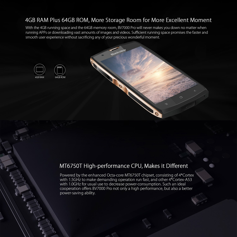 Blackview BV7000 PRO - Smartphone Rugerizado 4G de 5.0FHD (IP68, cámaras 13 MP + 8 MP, 64GB ROM+4GB RAM, 8 núcleos MT6750T, Android 6.0, OTG, lector ...